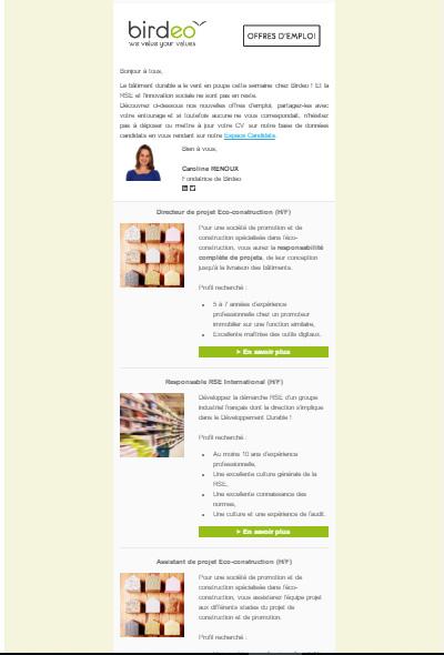 Newsletter Offres d'emploi BIRDEO